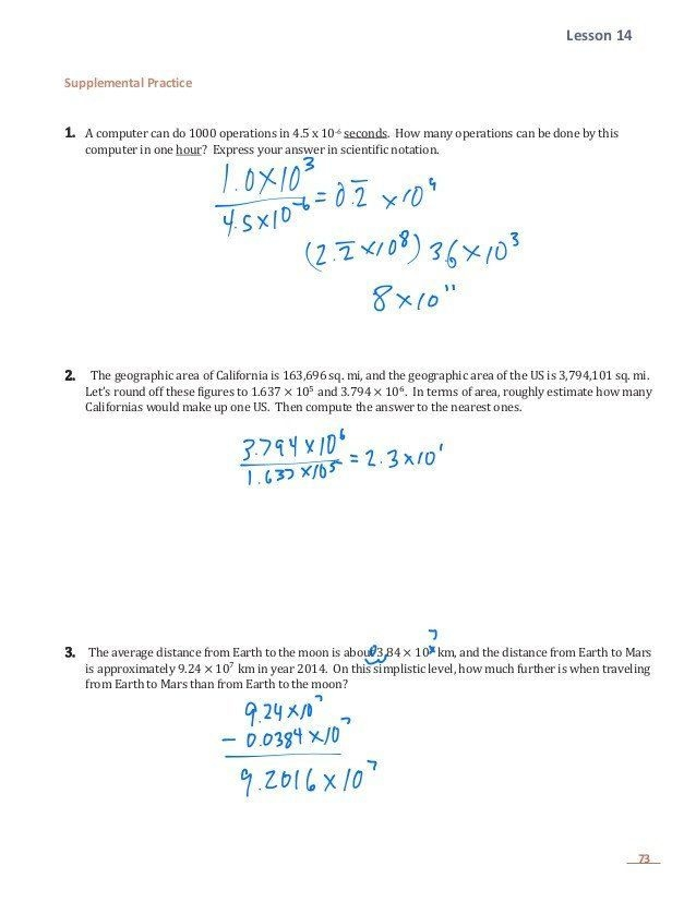 Adding Subtracting Scientific Notation Worksheet E