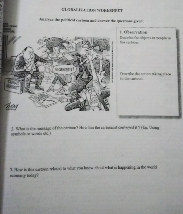 Answer The Questions Globaliza Tion Worksheet Analyze The
