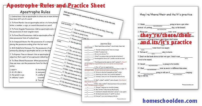 Apostrophe Rules And Practice Sheets  They'Retheretheir