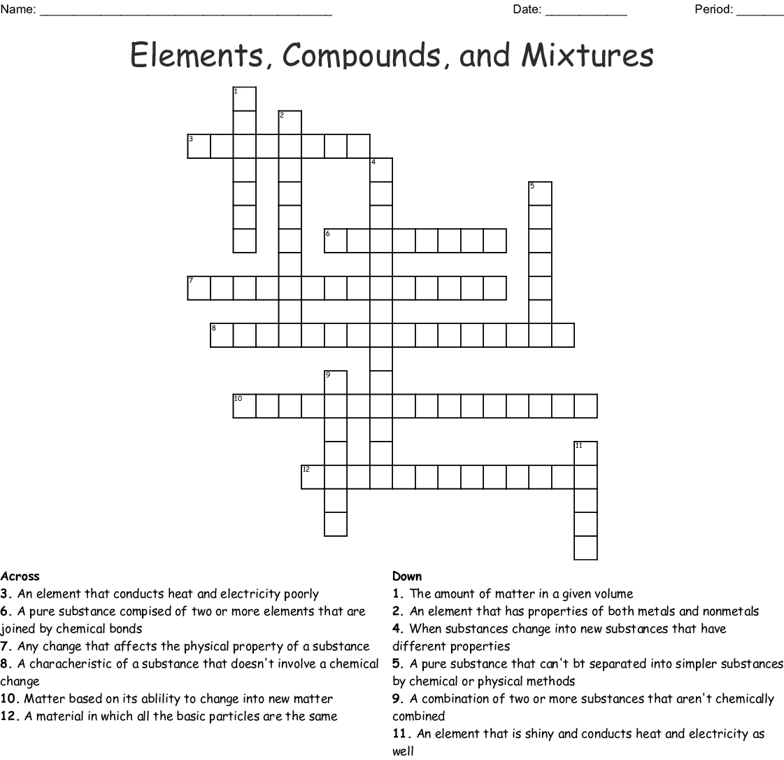 Atoms Elements Compounds And Mixtures Worksheet Answers