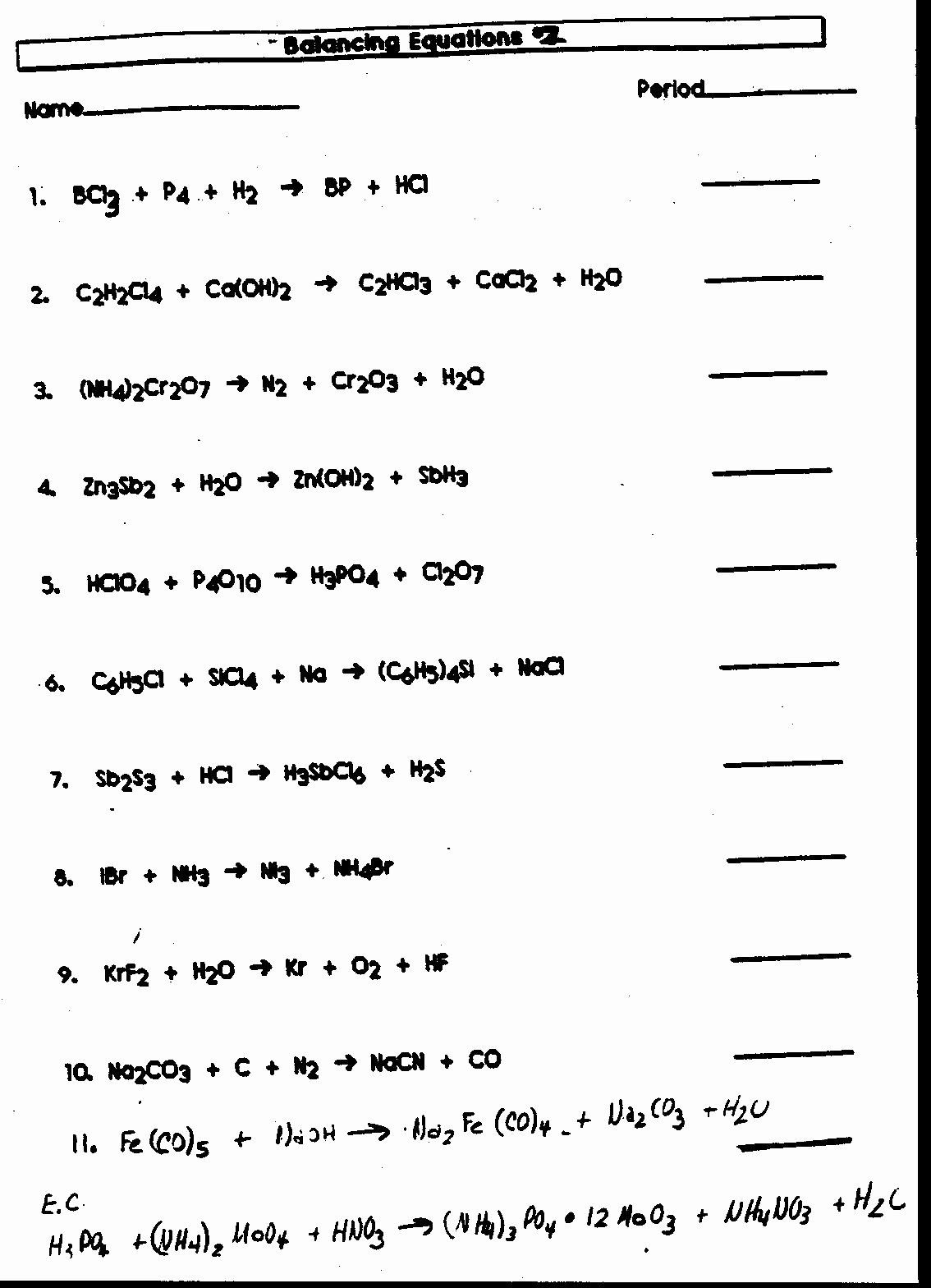 Balancing Chemical Equation Worksheet  Chessmuseum
