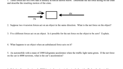 Best Images Of Newton'S Second Law Of Motion Worksheet