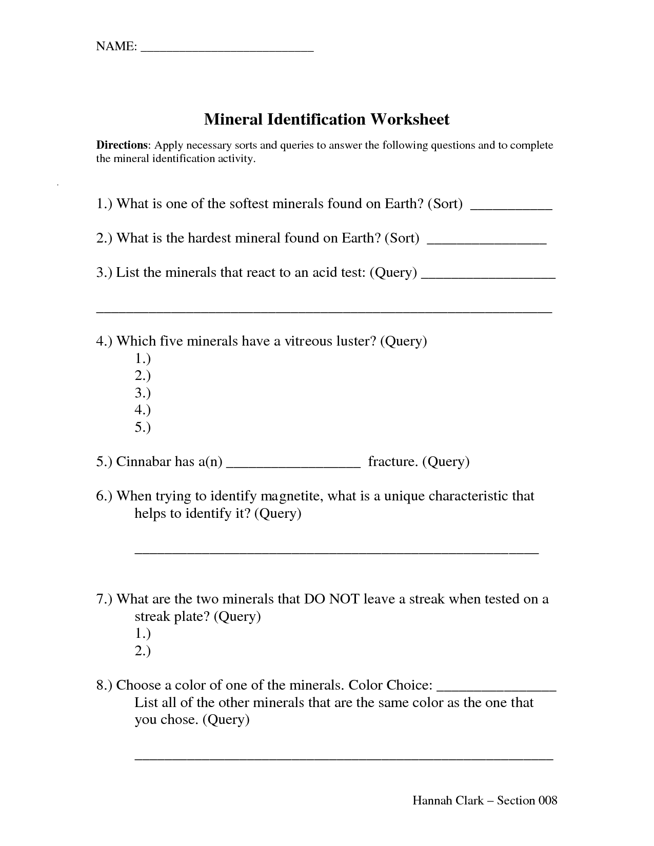 Best Images Of Rocks And Minerals Vocabulary Worksheets