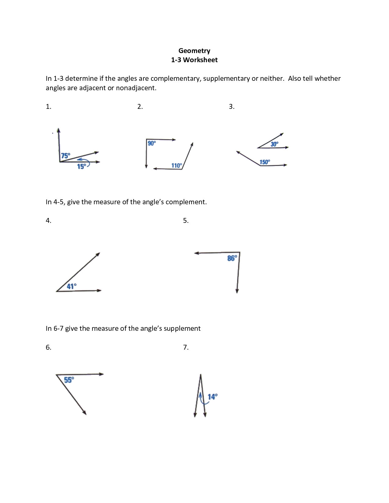 Best Images Of Supplementary Angles Worksheet