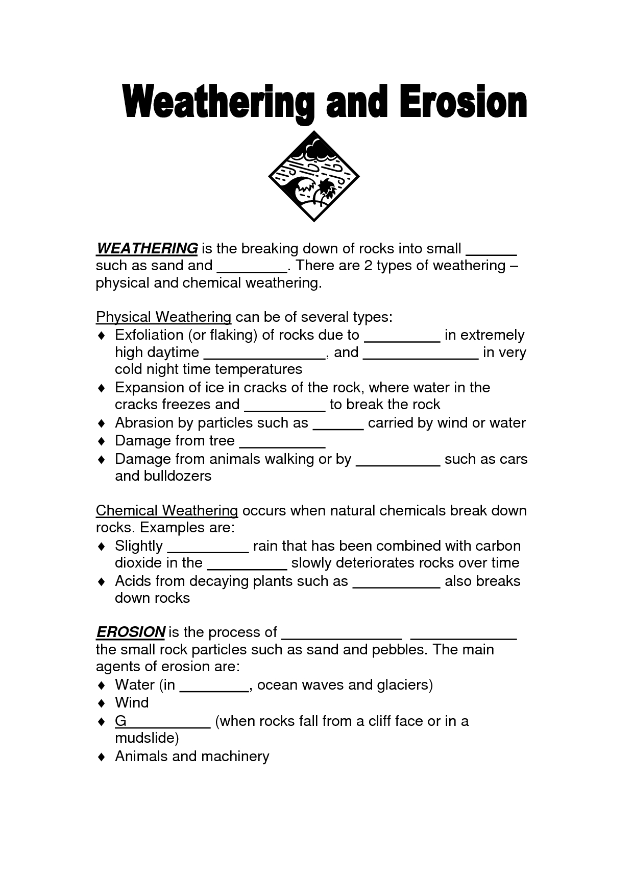 Best Images Of Weathering And Erosion Worksheet
