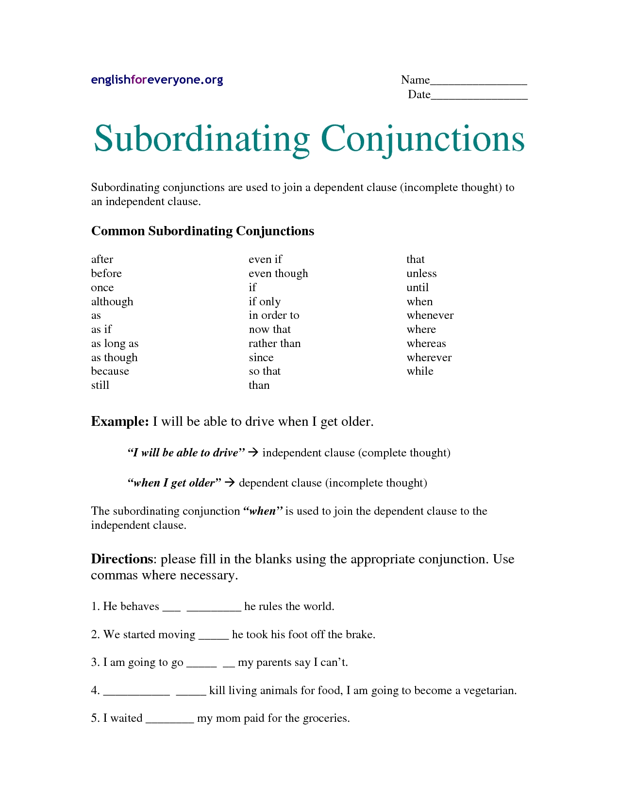 Best Images Of Worksheets Using Conjunctions