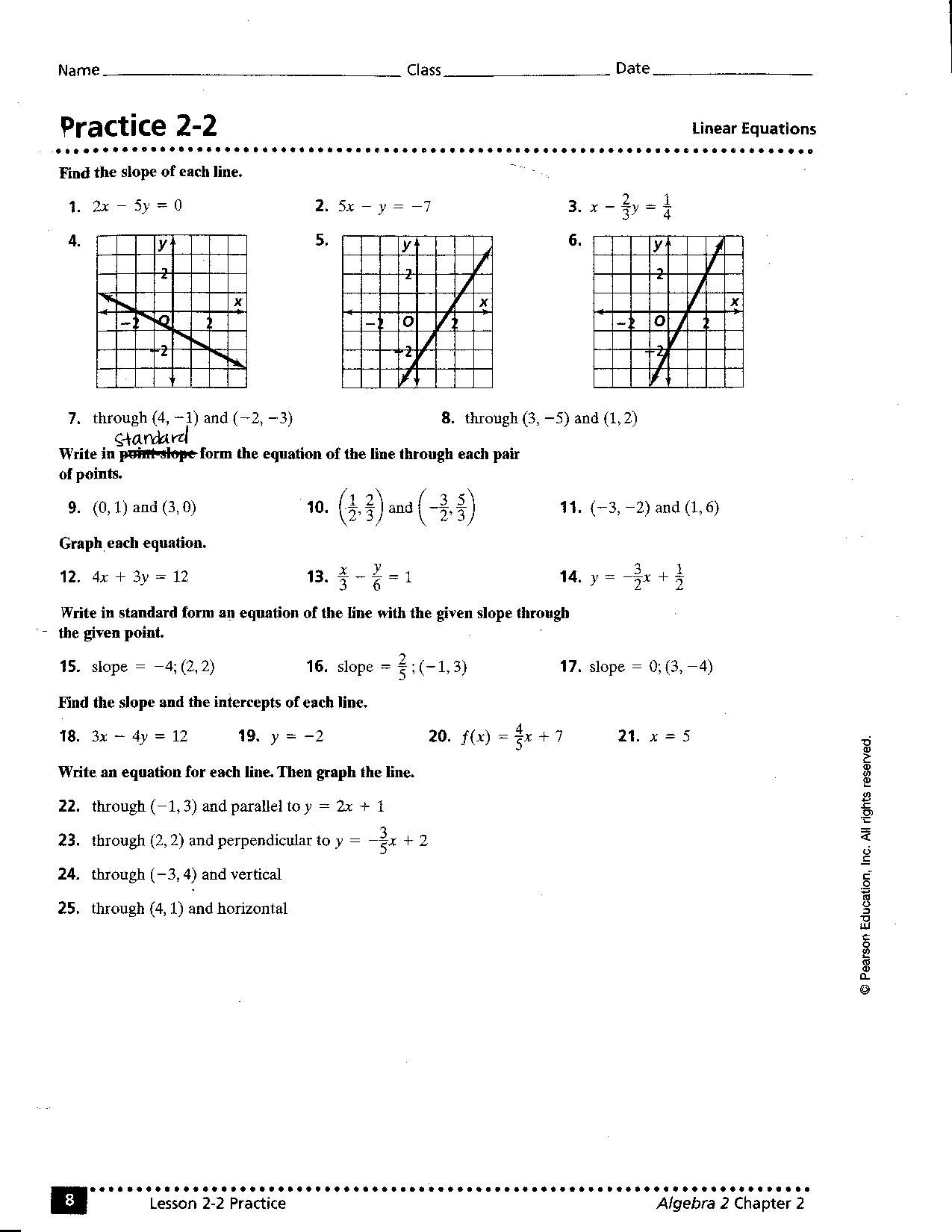 Best Images Of Writing Linear Equations Worksheet