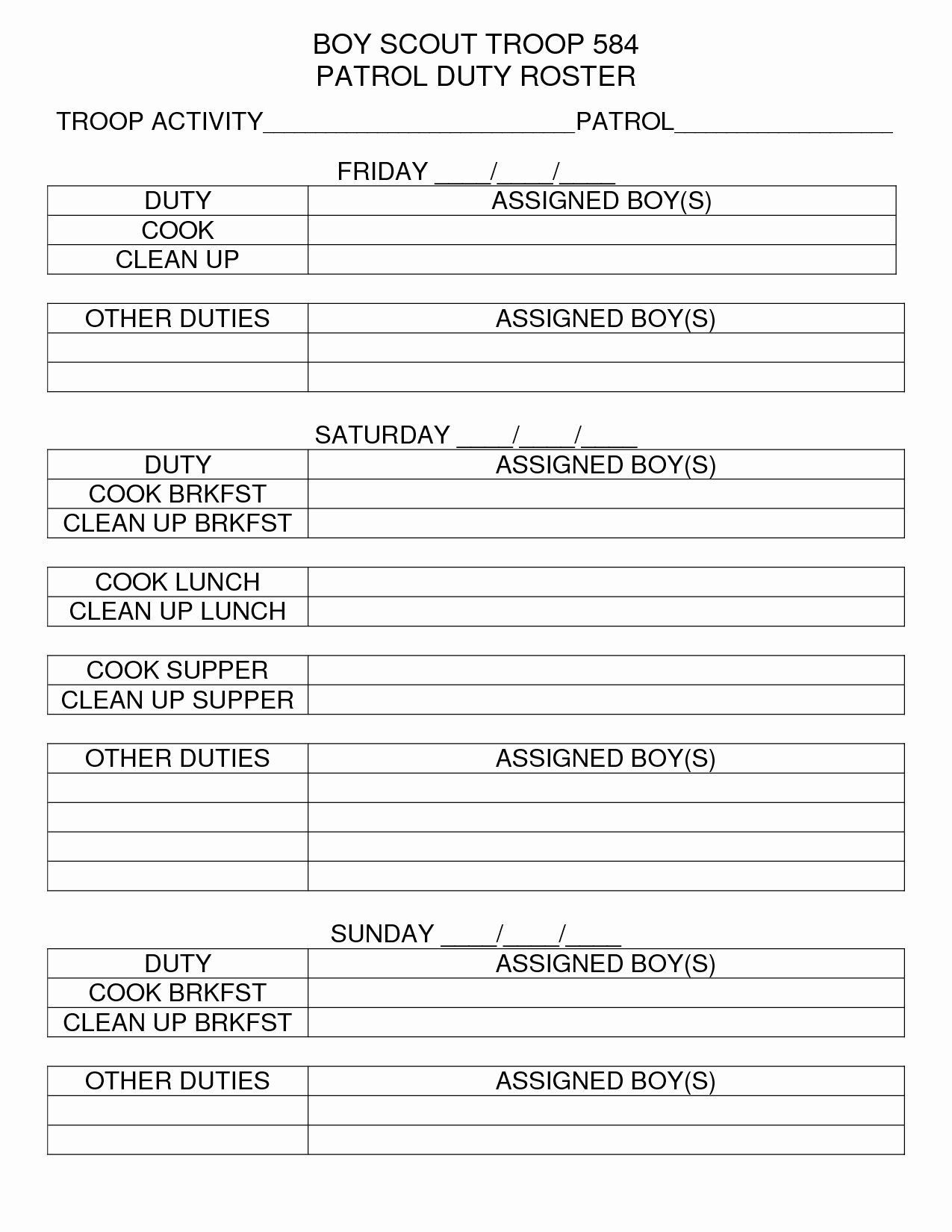 Boy Scout Duty Roster Template Best Of Den Camping