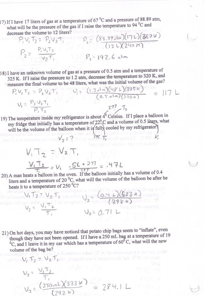 Boyles And Charles Law Worksheet Answers Boyles Law