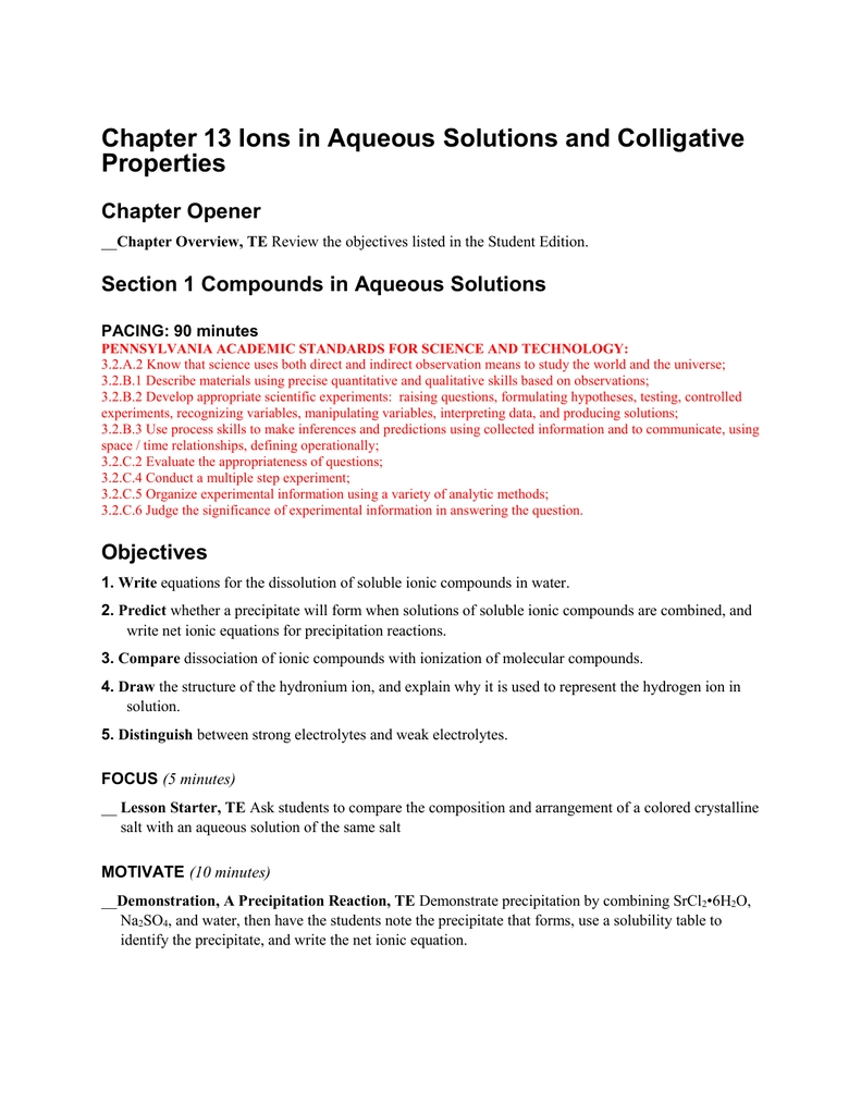 Chapter  Ions In Aqueous Solutions And Colligative