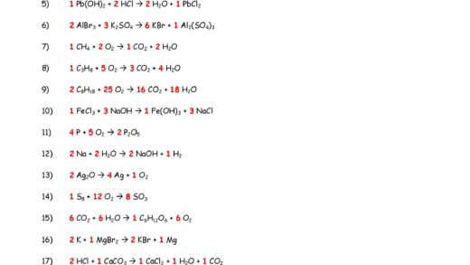 Chapter  Worksheet  Balancing Chemical Equations Answers