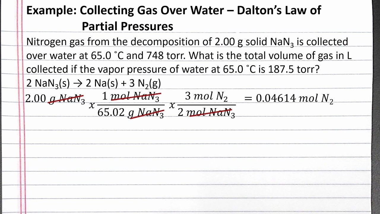 Chem  Collecting Gas Over Water  Dalton'S Law Of