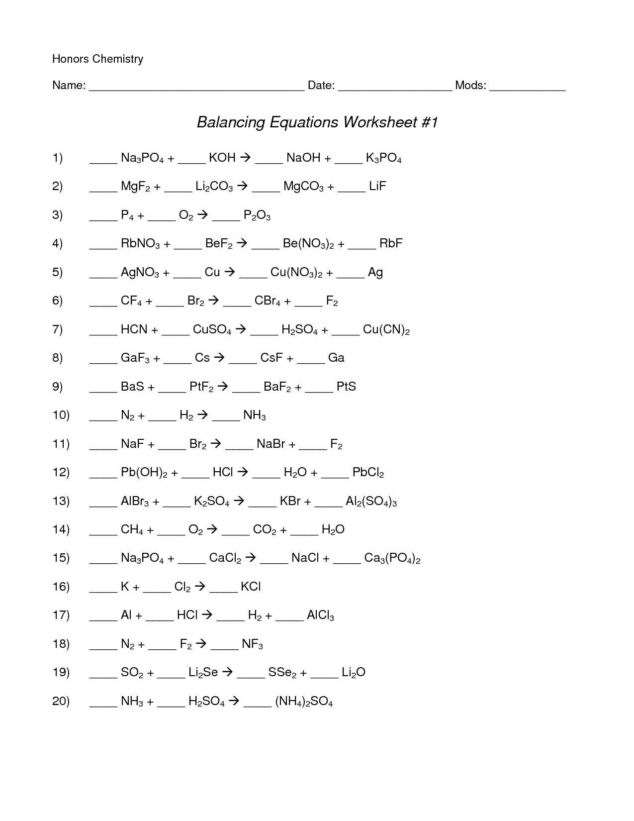 Chemical Equations And Stoichiometry Balancing