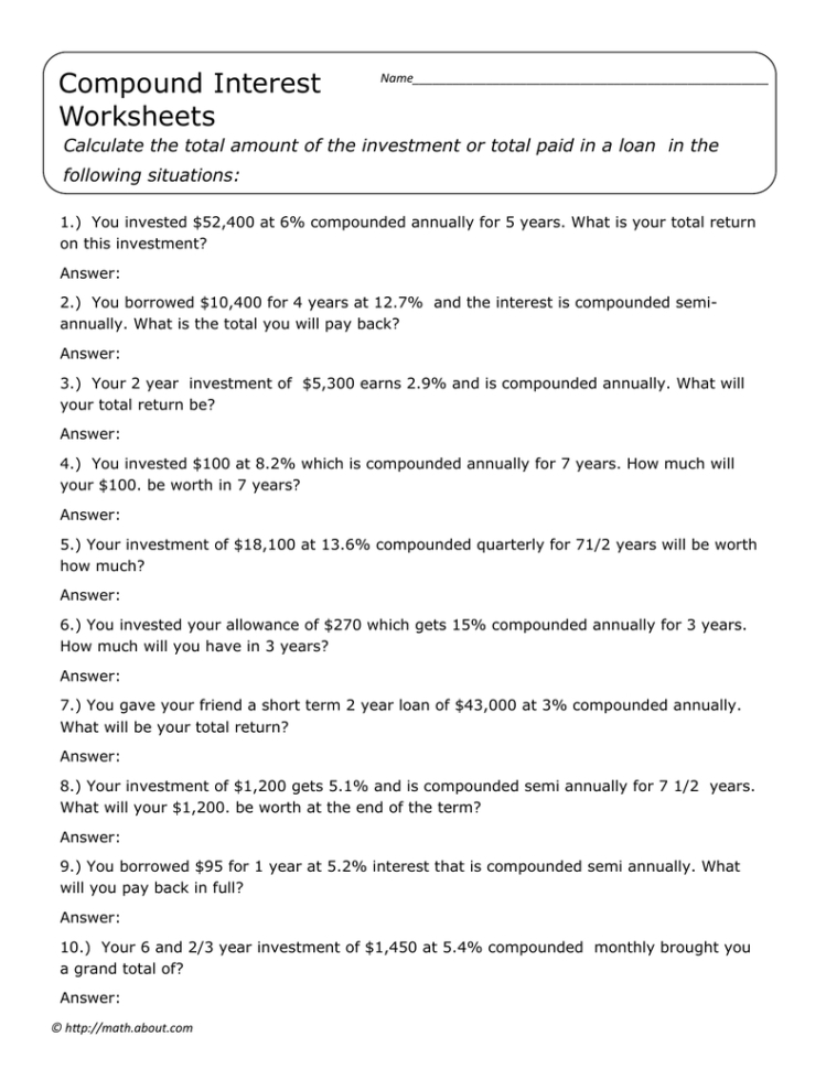 Compound Interest Worksheets Following Situations — Db