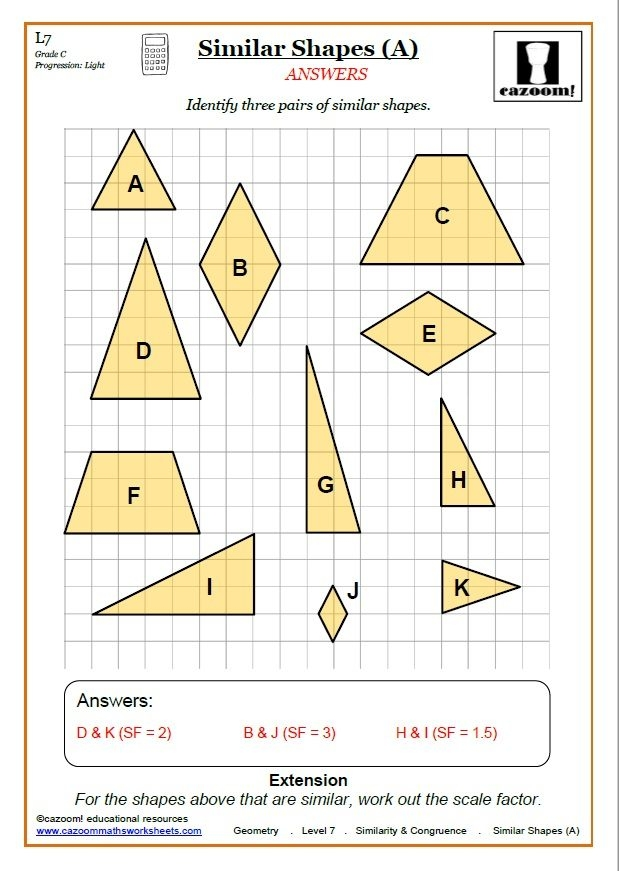 Congruence And Similarity Worksheets  Cazoom Maths Worksheets