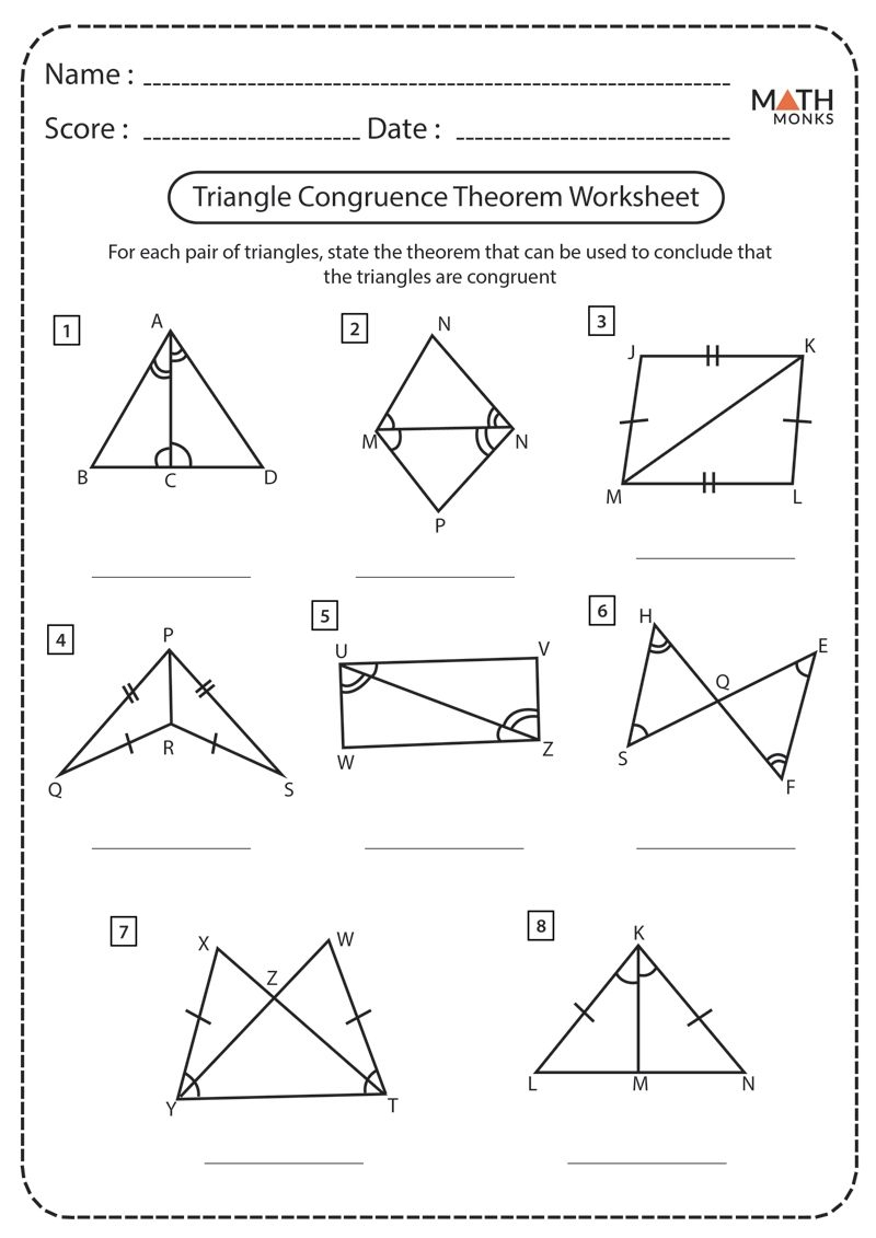 Congruent Triangles Worksheets  Math Monks
