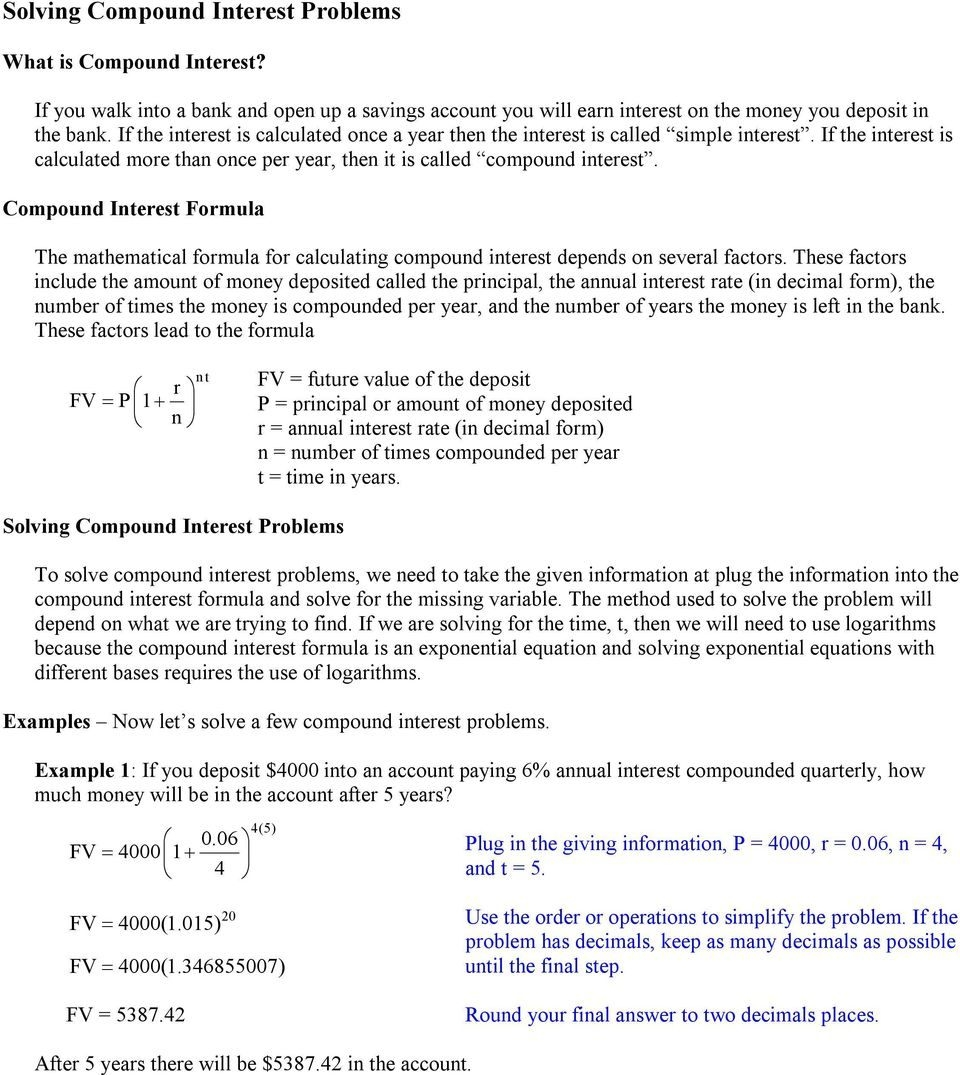 Continuous Compound Interest Worksheet With Answers Pdf