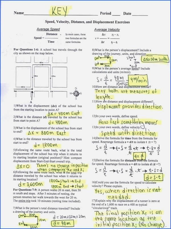 Distance And Displacement Worksheet Answers In