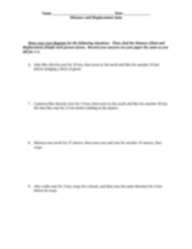 Distance And Displacement Worksheet Docx  Name Date