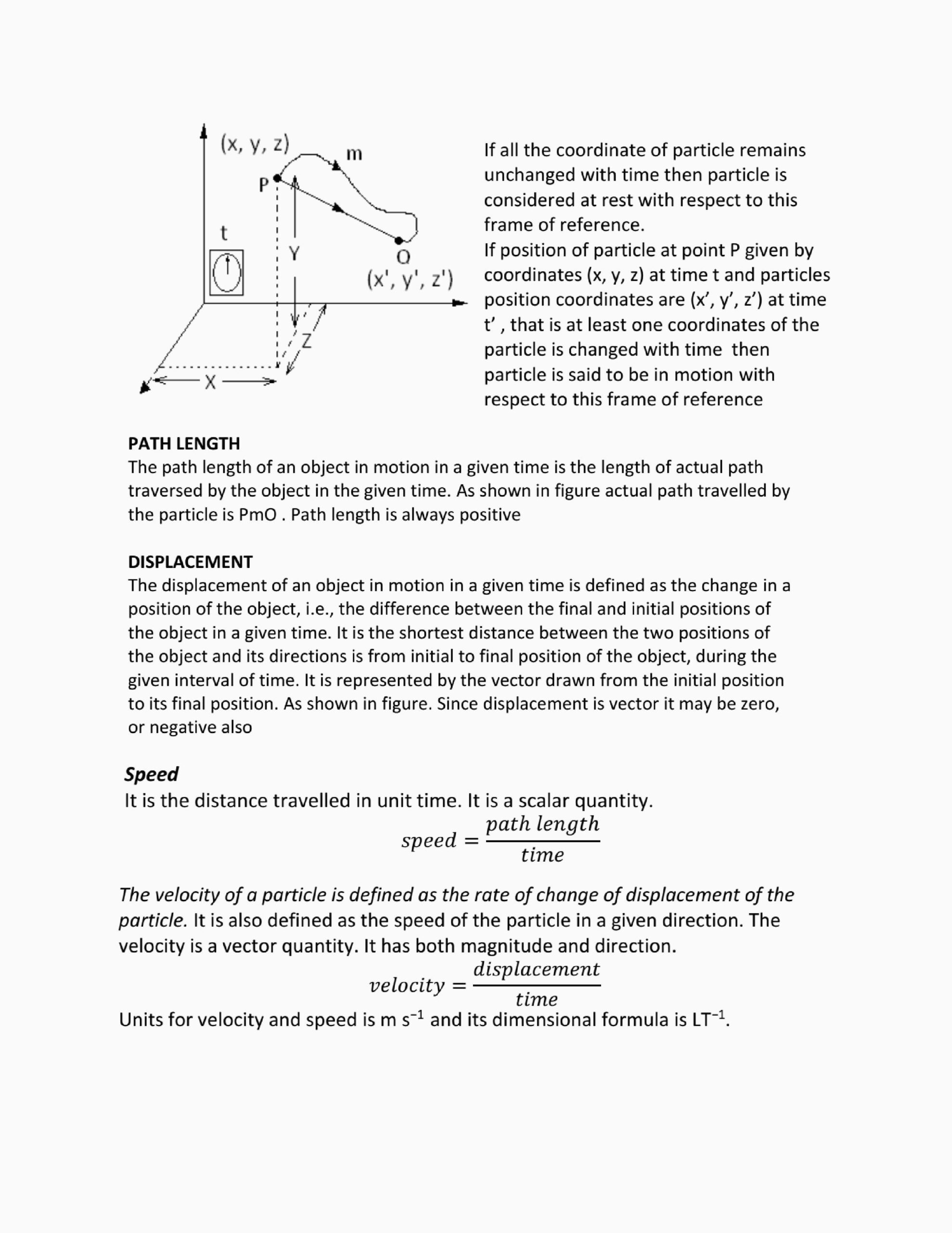 Distance Displacement Speed And Velocity Worksheet Answers
