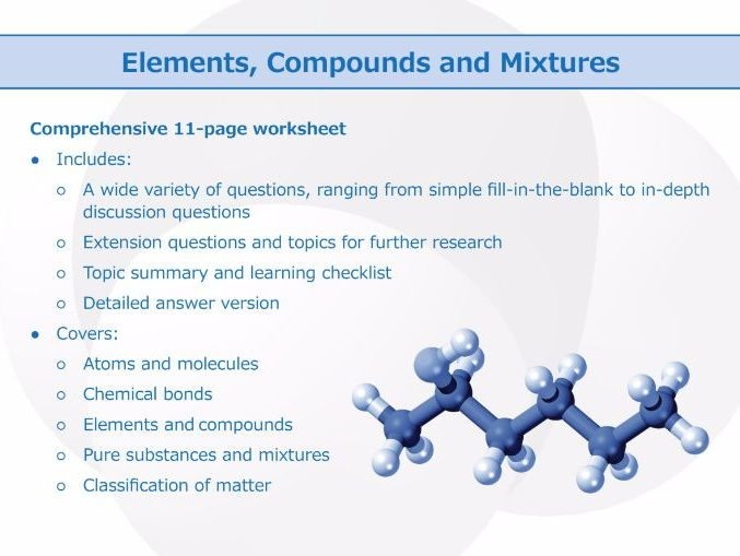 Elements Compounds And Mixtures Worksheet  Teaching