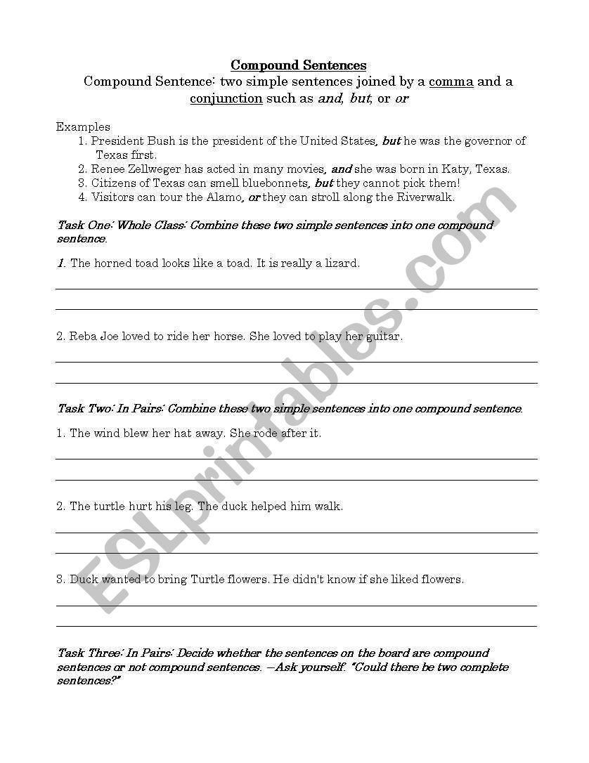 English Worksheets Compound Subjects And Verb