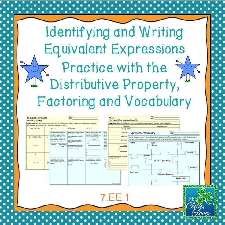 Equivalent Expressions Practice Worksheets  Equivalent