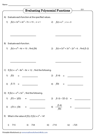 Evaluating Polynomial Functions Worksheet Pdf