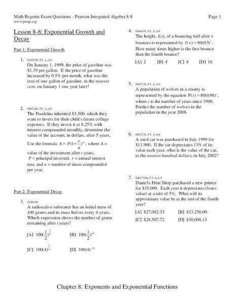 Exponential Function Word Problems Worksheet Exponential