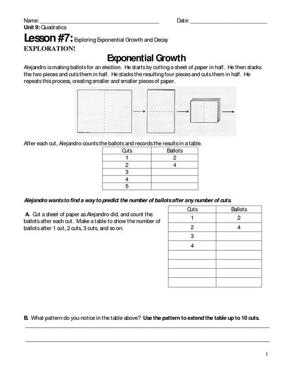 Exponential Growth And Decay Problems Worksheet With