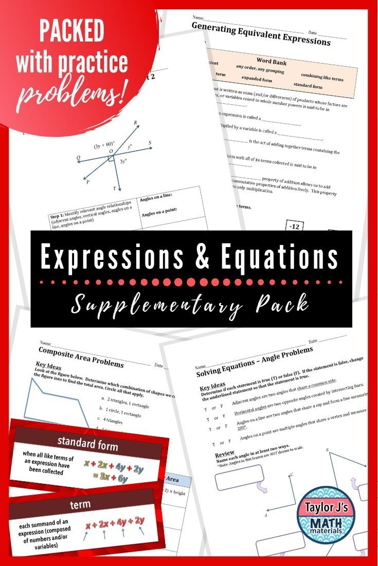 Expressions And Equations Worksheets And Word Wall