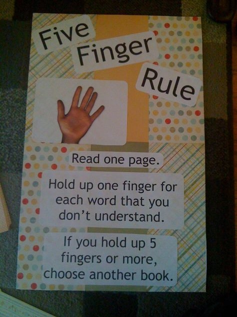 Five Finger Rule Use To Choose A Book With Images