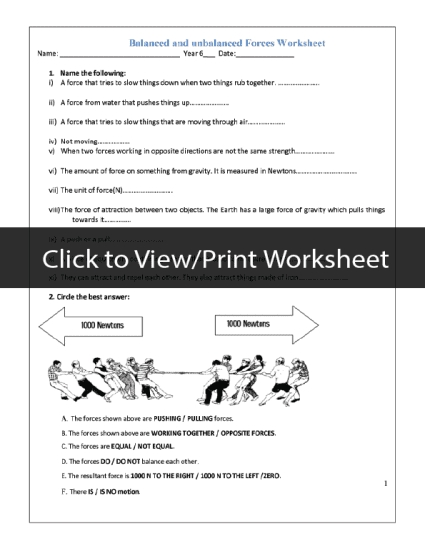 Force And Motion Pdf Worksheets  Dsoftschools