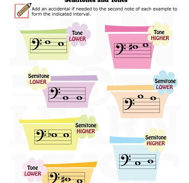 Fun And Learn Music » Music Worksheets  Semitones And