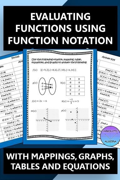 Function Notation Evaluating Functions Worksheet Answers