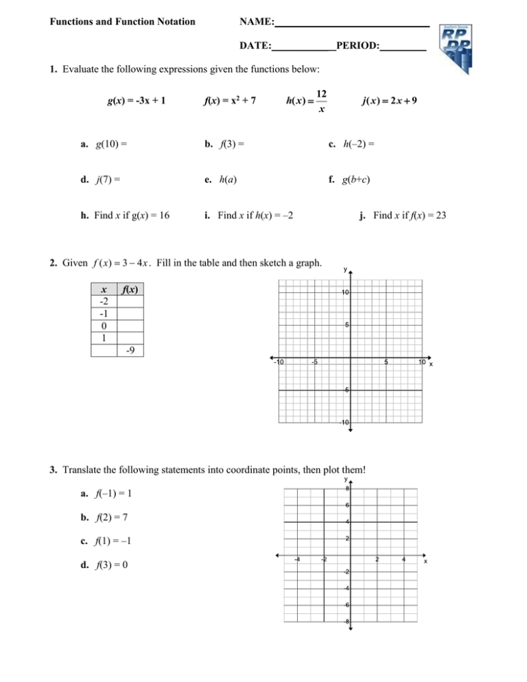 Functions And Function Notation Date Period