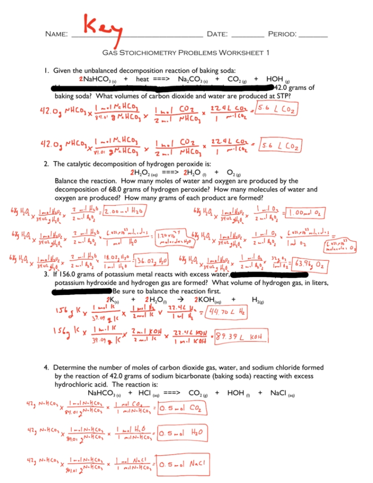 Gas Stoichiometry Worksheet With Solutions — Dbexcel