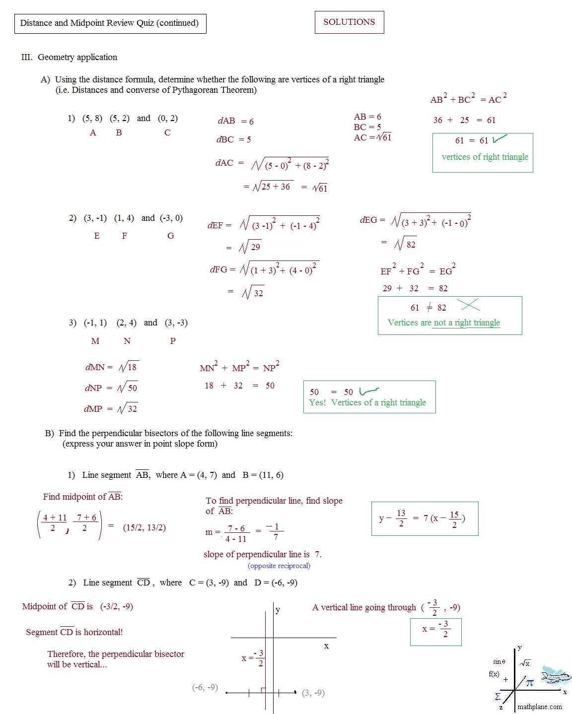 Geometry Distance And Midpoint Worksheets