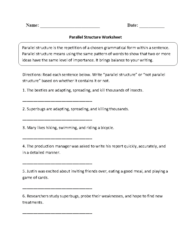 Grammar Practice Parallel Structure Worksheet Answers — Db