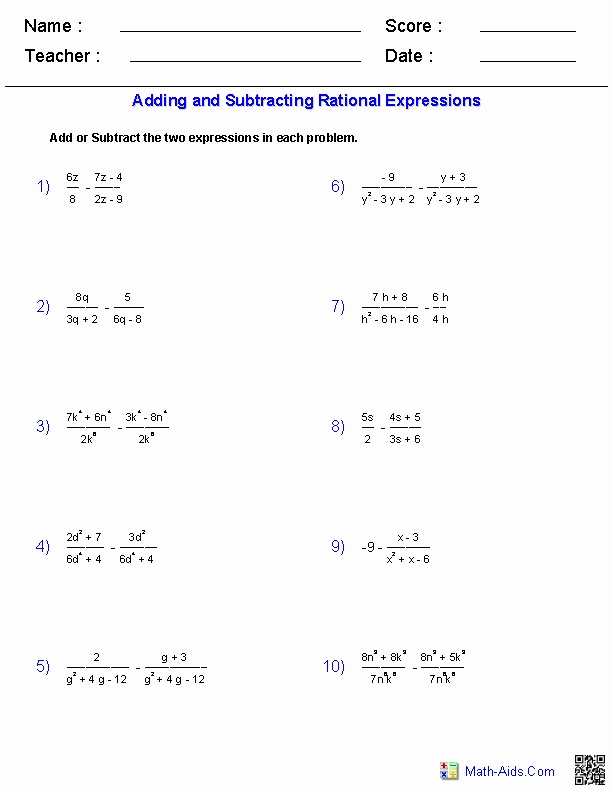 Graphing Rational Functions Worksheet  Chessmuseum