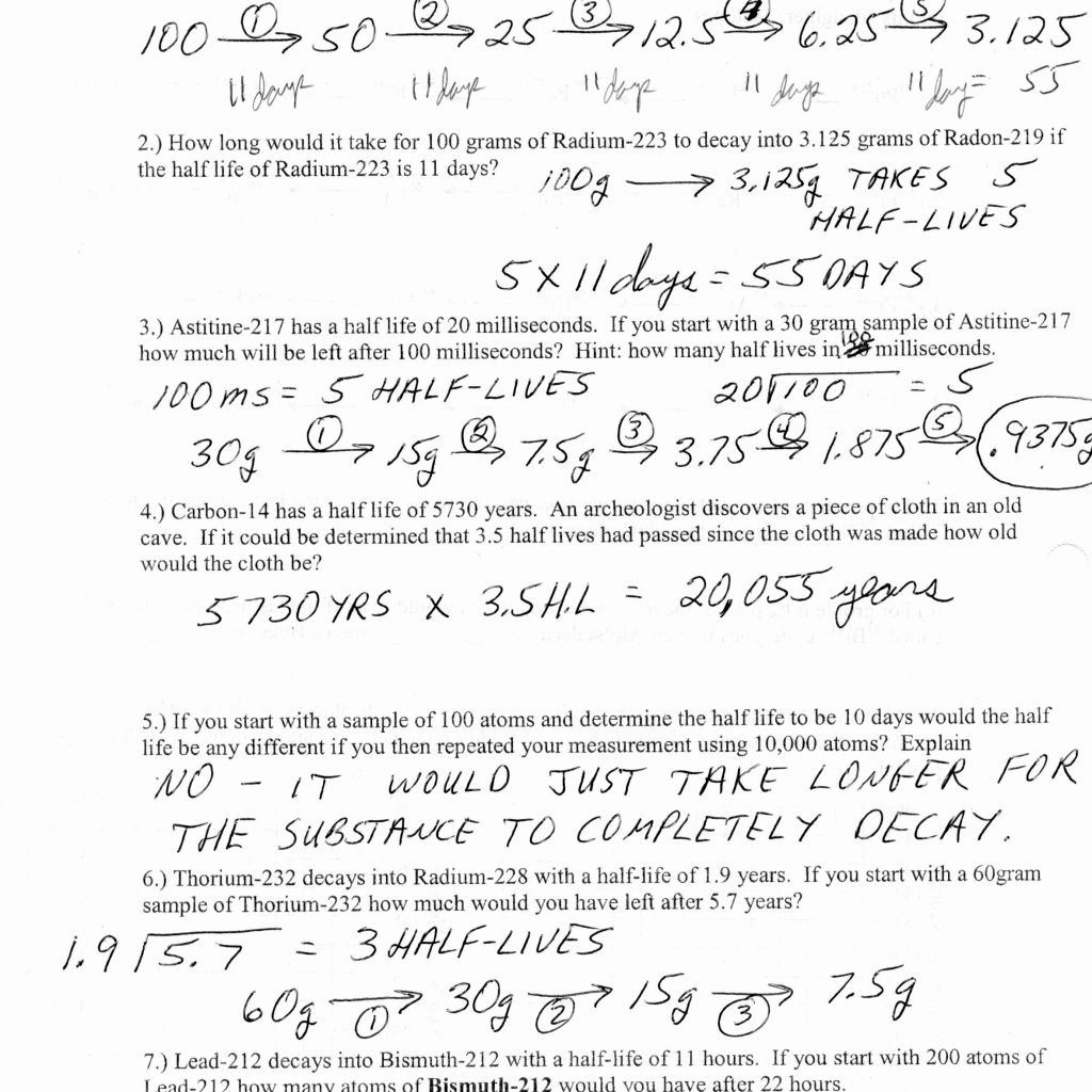 Half Life Calculations Worksheet Answers — Dbexcel