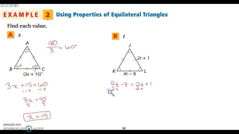 Isosceles And Equilateral Triangles Worksheet Answer