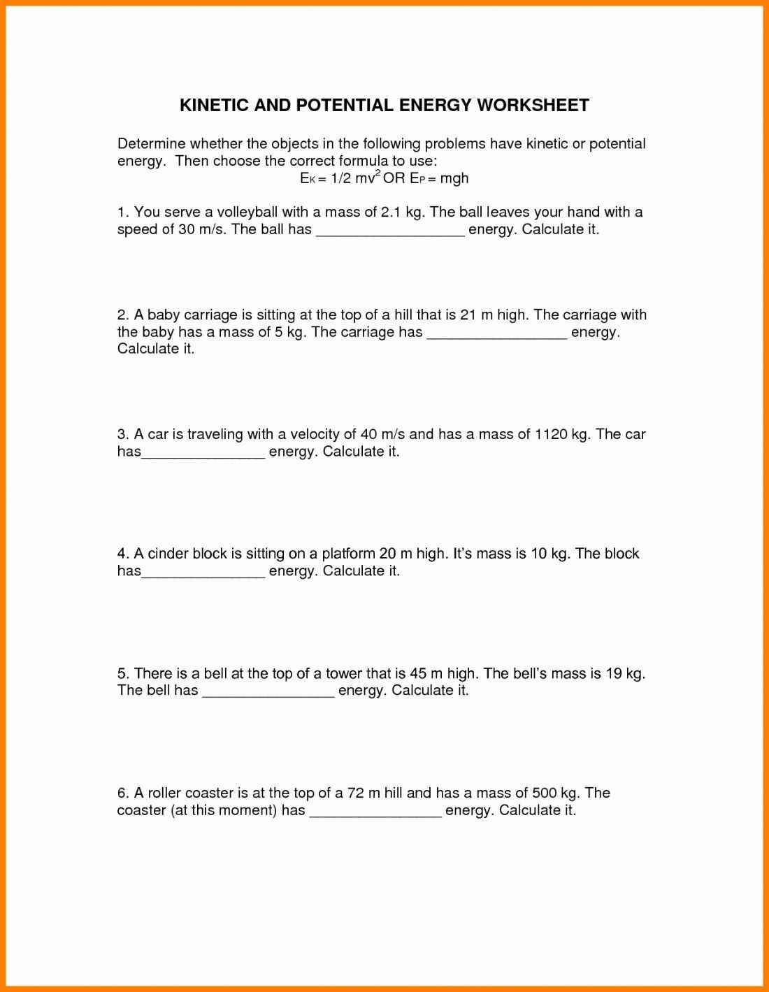 Kinetic And Potential Energy Calculations Worksheet