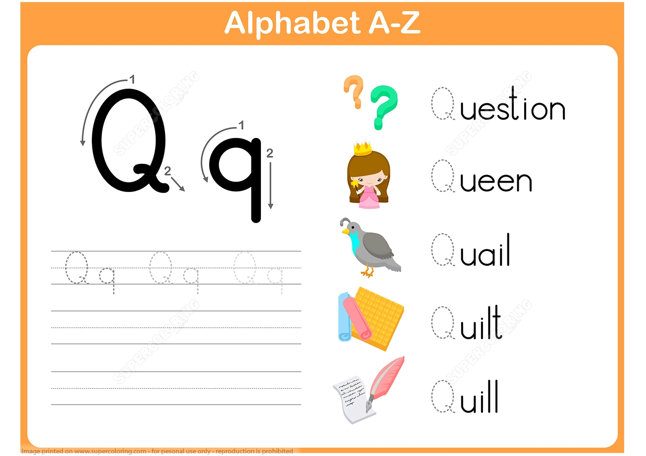 Letter Q Tracing Worksheet  Free Printable Puzzle Games
