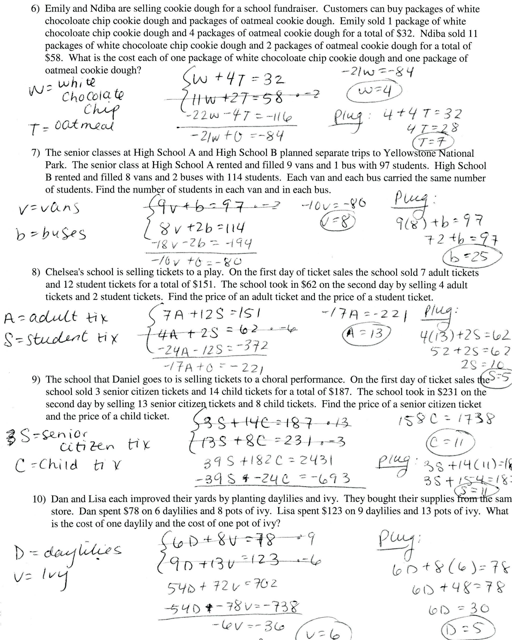 Linear Functions Word Problems Worksheet Rational