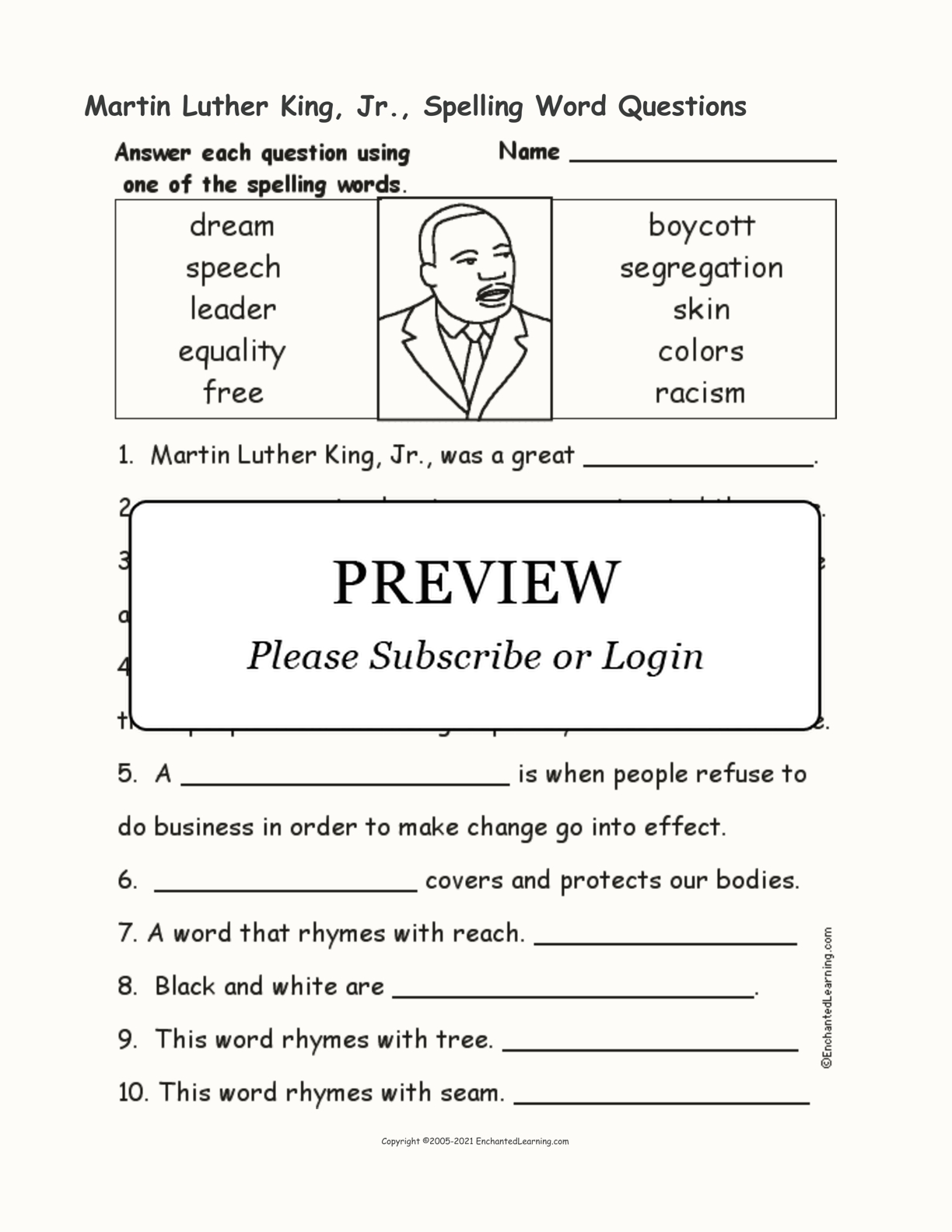 Martin Luther King Jr  Spelling Word Questions