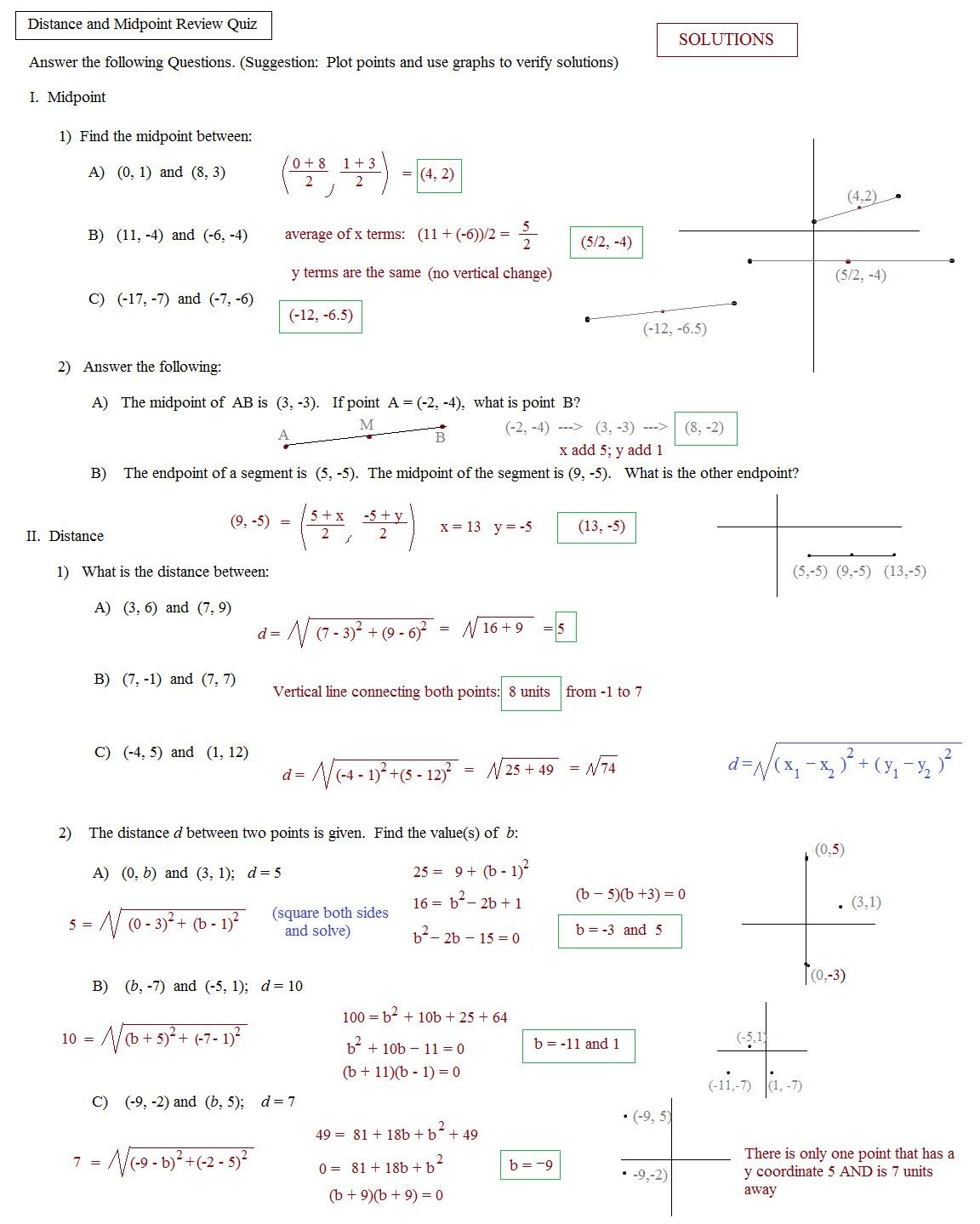Midpoint And Distance Formula Worksheet Pdf — Dbexcel