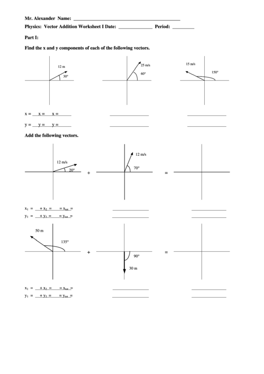 Mr Alexander Physics Vector Addition Worksheet  Answers