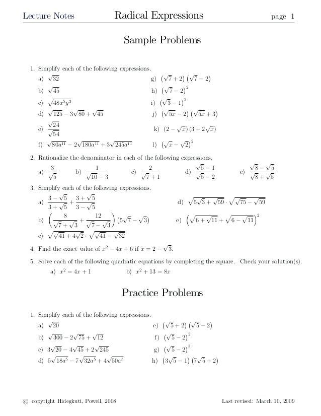 Multiplying And Dividing Radical Expressions Worksheet