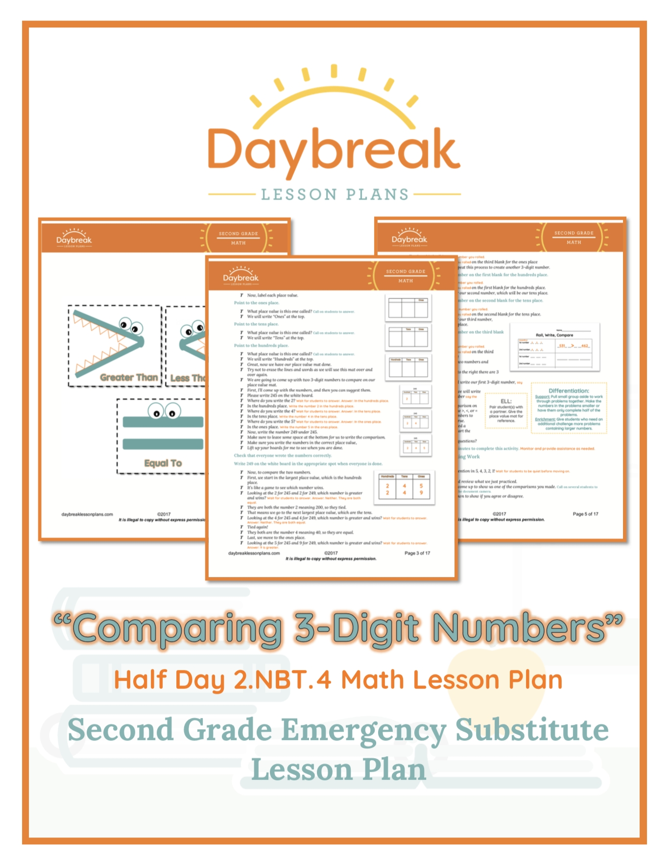 Nbt Comparing  Digit Numbers  Daybreak Lessons